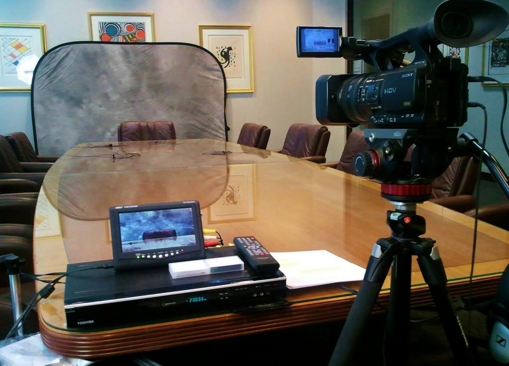 Legal videographer's setup at a deposition